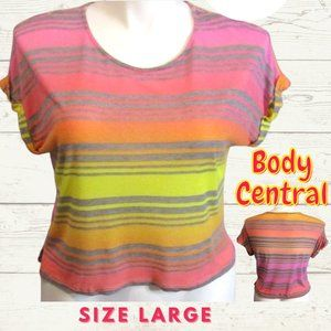 JUNIOR'S Body Central Colorful Large Striped Shirt
